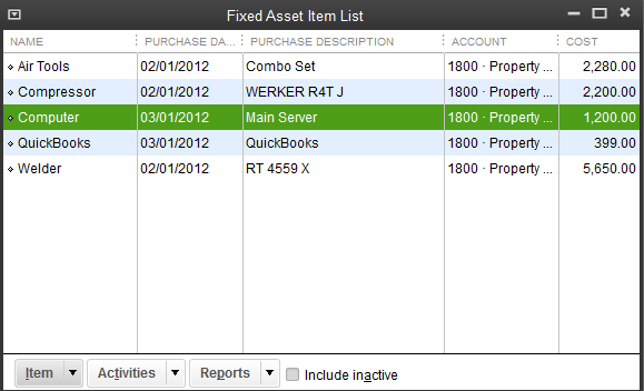 QB Fixed Asset Item List 1