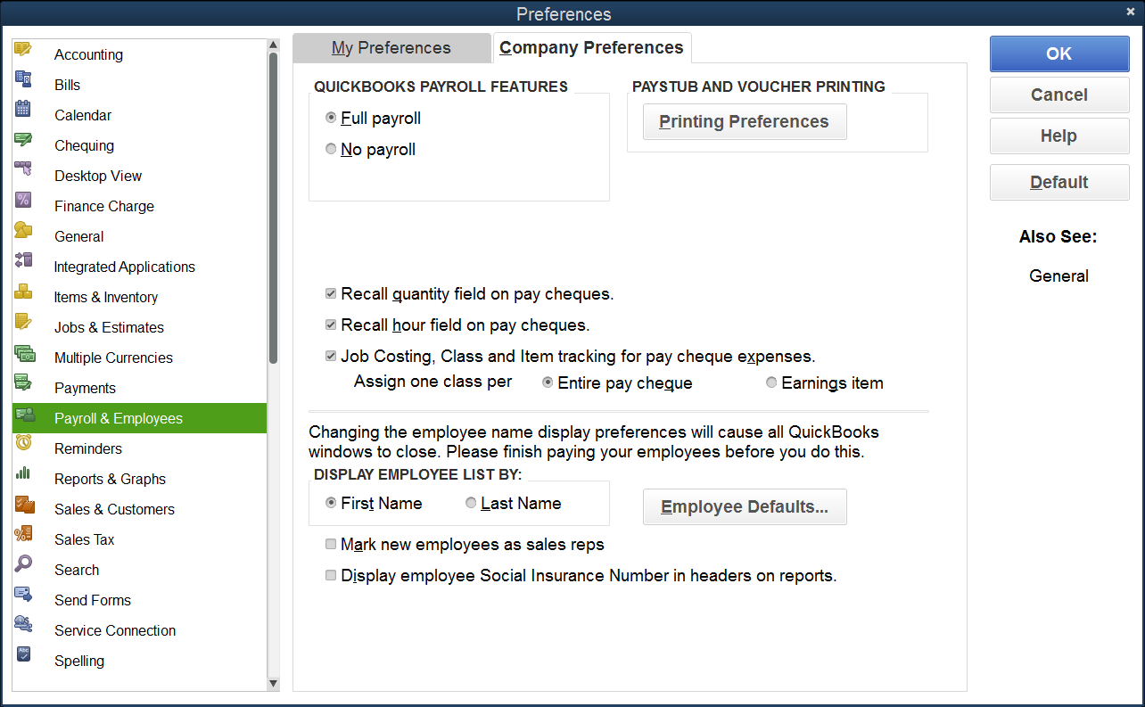 QB Payroll  Employees Preferences 1